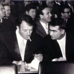 Skopje, Macédoine, 1967 : Slavko Janevski et Aco Šopov lors de l'inauguration de l'Académie macédonienne des sciences et des arts.