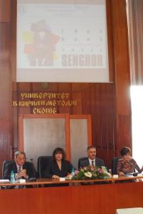 Christian Valentin (à gauche) au colloque international « Senghor en toute liberté », Skopje, 2006
