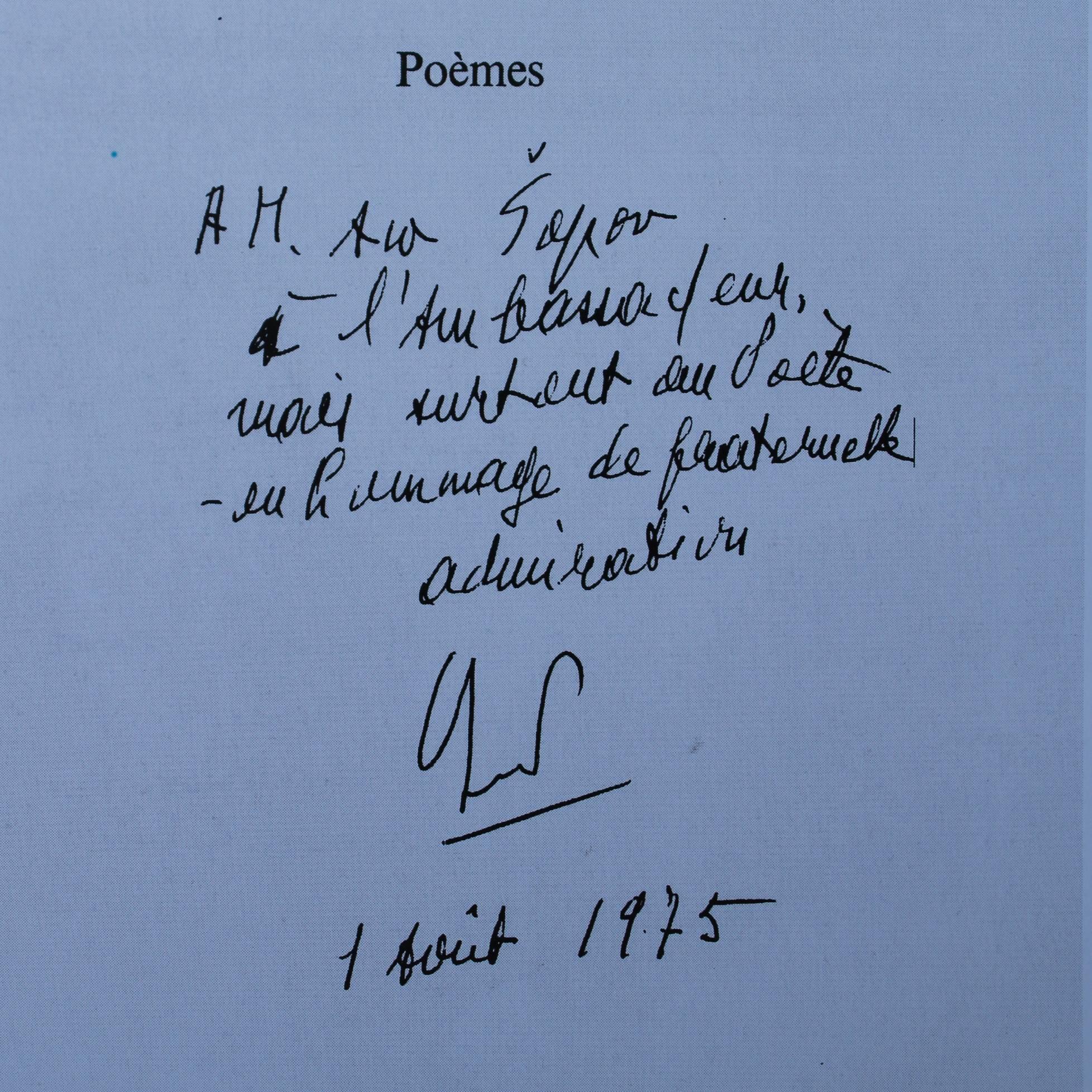 Посвета што Сенгор му ја напишал на Шопов подарувајќи му ја книгата Писма од ивернажот