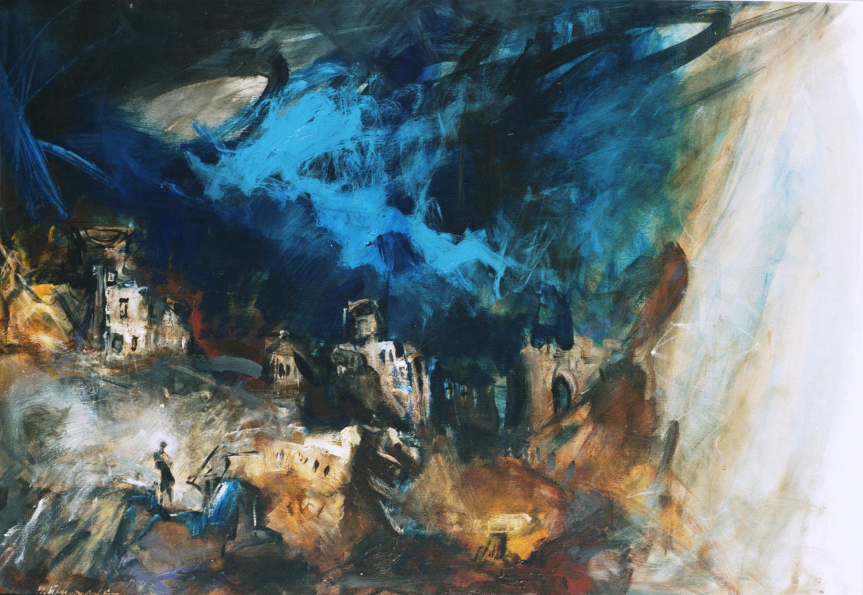 """Oeuvre du peintre macédonien Ilija Penušliski, inspirée par le poème """"Naissance de la parole"""", d'Aco Šopov."""