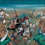 Beteja mes dy taborreve, karikaturë nga Cico